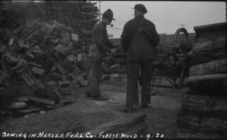 Workers sawing wood at Mercer Fuel Co., 1920 | by Seattle Municipal Archives