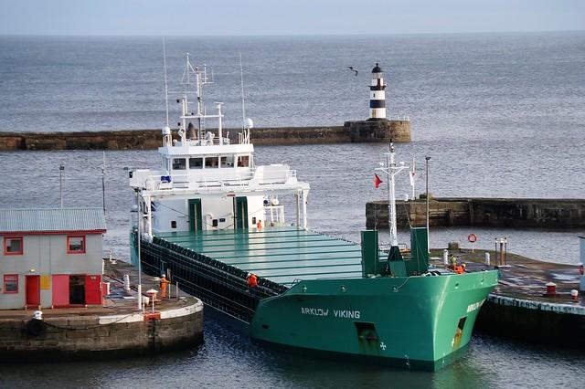 3 DSC03054 (2). General Cargo vessel ARKLOW VIKING entering Port of Seaham, Co. Durham.