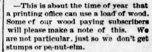 1887 - wood for subscription - Enquirer - 1 Oct 1887 | by historic.bremen