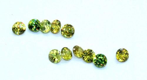 natural sphene round faceted cut gemstone