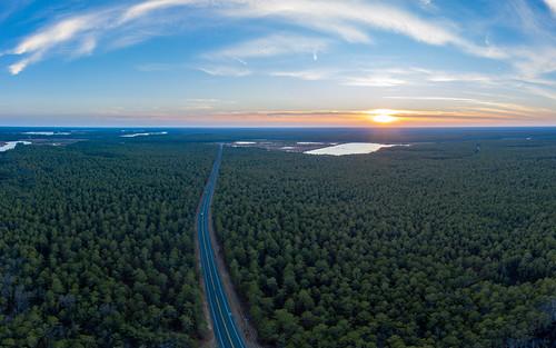 chatsworth newjersey unitedstates us nj 2018 mavic2pro aerialphoto panorama sunset pinelands pinebarrens