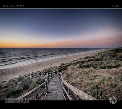 stairs beach sea sky sun sunset sand wind tomraven aravenimage q42018 olympus em1mk2