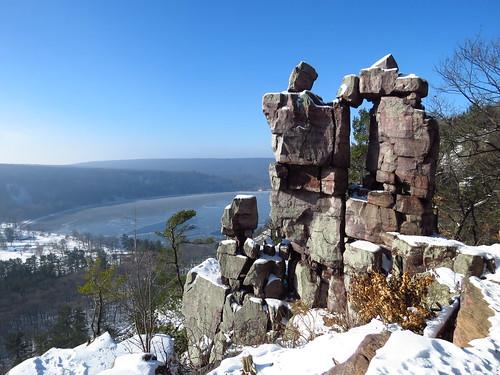 devilslake wisconsin nature parks wisconsinstateparks rocks boulders hike water sky blue pines snow winter