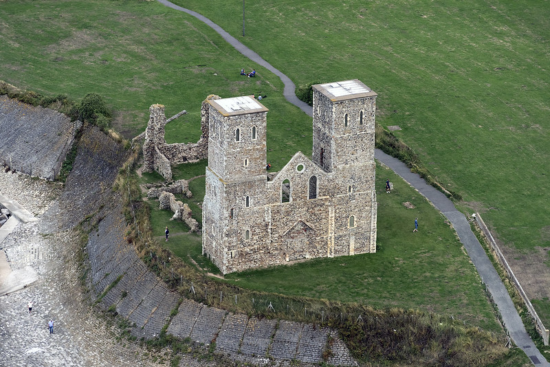Aerial of the Reculver Towers in Kent