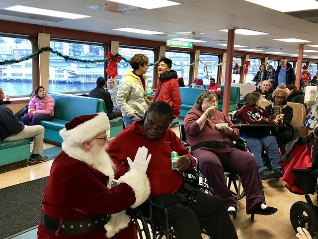 Santa talks to cruise guests