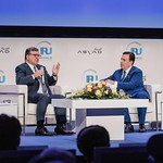 Jose Manuel Barroso and John Defterios during the Plenary session 1 at IRU World Congress in Muscat, Oman