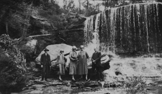 Lovelock family with friends at the waterfall, Mt. Cootha area, Brisbane, 1926