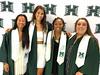 University of Hawaii at Manoa track and field graduates Nina Bean, Meg Jackson, Raion Black, and Karen Bulger at the campus' fall commencement ceremony on December 15, 2018.