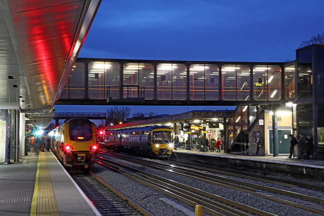 Dusk falls on Oxford station