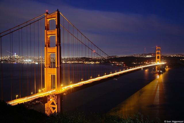 Golden Gate Bridge Nachtaufnahme in San Francisco am 5.07.18