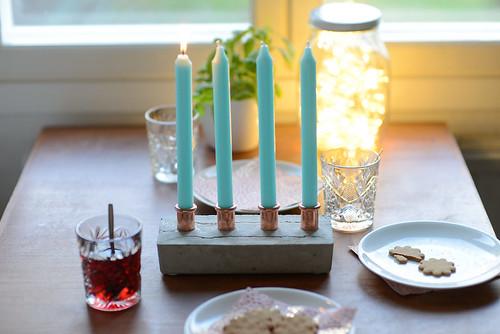 DIY Concrete and copper candelabra | by jutta / kootut murut