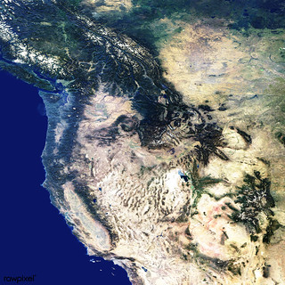The western United States and Canada. Original from NASA. Digitally enhanced by rawpixel.