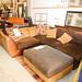 Large l shape leather and fabric sofa with footstool E335 set