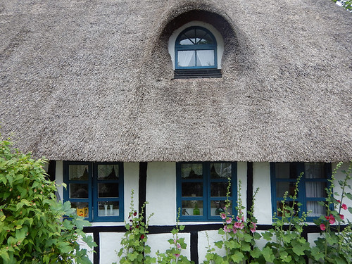An old thatched roof cottage in Nordenbro, Denmark