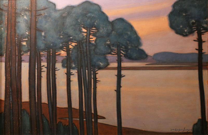 """Jean-Roger Sourgen  (1883 Vielle-Saint -Girons-1978 Labenne) """"Pins au crépuscule devant un lac des Landes"""" (vers 1935)"""