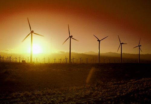 California Wind Turbines at Sunset. Original image from Carol M. Highsmith's America, Library of Congress collection. Digitally enhanced by rawpixel. | by Free Public Domain Illustrations by rawpixel