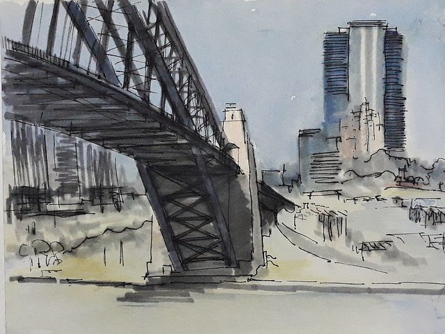 Sydney summer sketching. Ink, watercolor, grey Tombow.