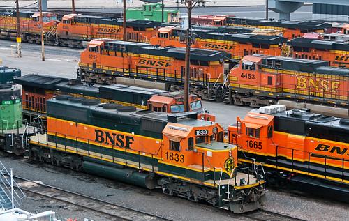 bnsf denverco emd sd402 shop ge gevo train railfan railroad
