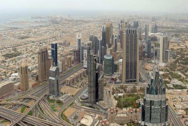 Dubai Financial Center seen from Burj Khalifa observation deck