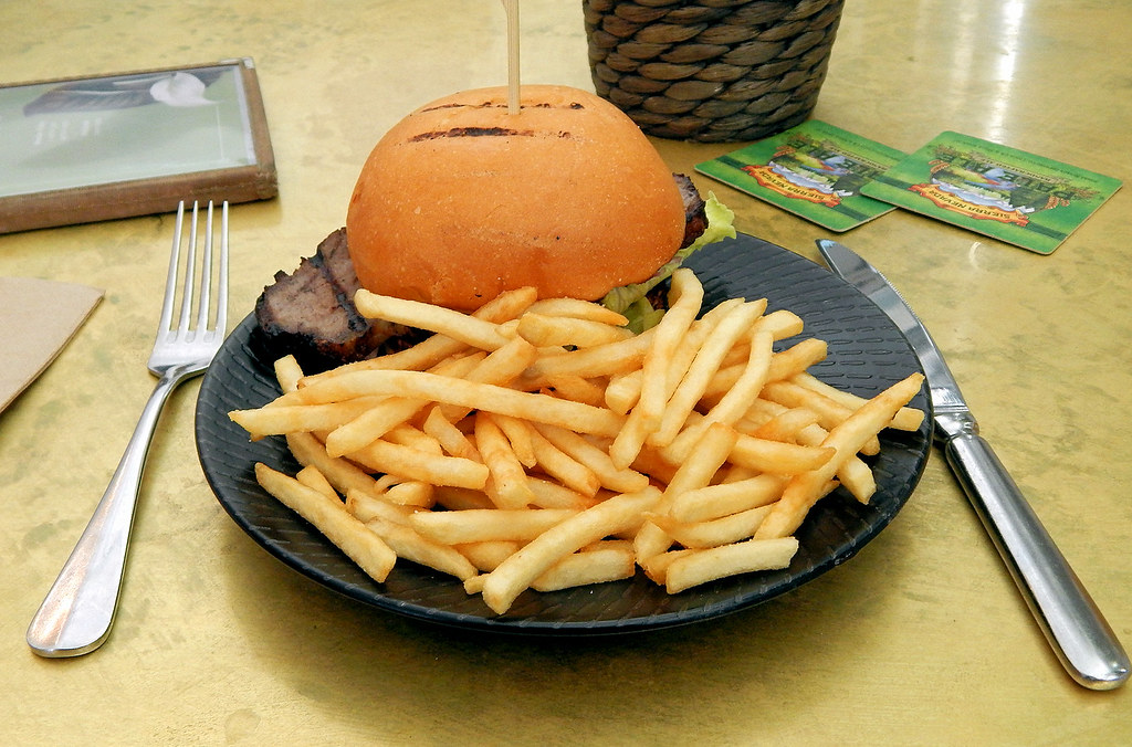 Steak Burger and Chips, Charring Cross Hotel, Waverley, Sydney, NSW.