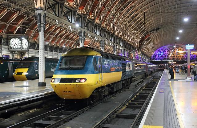 GWR HSTs 43002 and 43153 at London Paddington. 15 December 2018