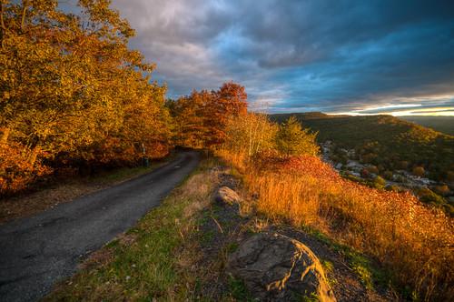 mountain road autumn color tree fall ny portjervis newyork new york sunrise sun landscape