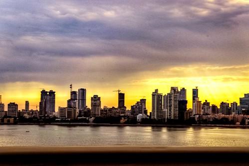 skyline waters sea bay city cityscape coast morning beautifulsky mumbai