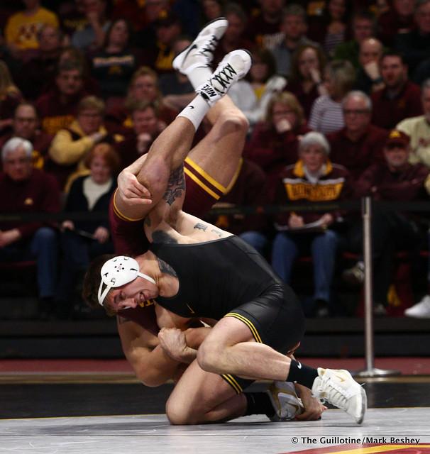 184 #14 Cash Wilcke (Iowa) dec. Brandon Krone (Minnesota) 9-2. 190113AMK0100