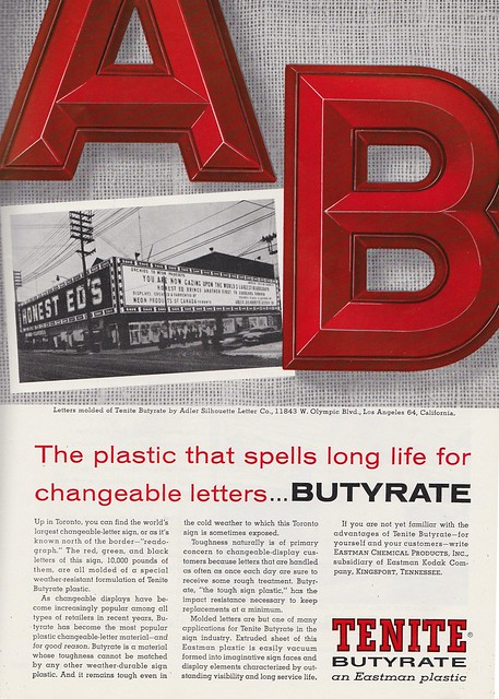 Vintage Tenite Butyrate Ad Featuring Honest Ed's in Toronto - circa 1960