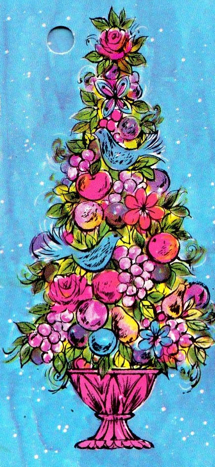 Christmas Topiary.Vintage Kaycrest Papercraft Christmas Topiary Gift Tag 196