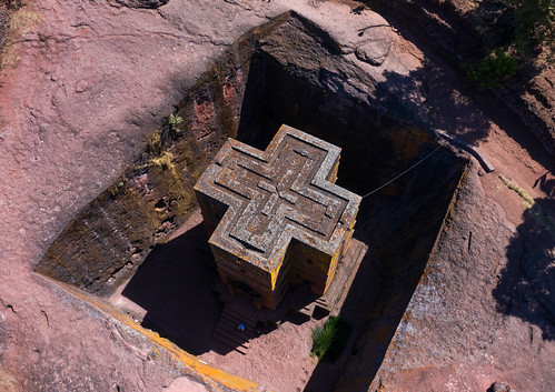 aerialview africa amhararegion ancient architecture builtstructure carving christianity church colourimage colourpicture cross day drone ethiopia ethiopia18dr0185 famousplace fullframe giyorgis history horizontal hornofafrica internationallandmark lalibela medieval monolithic monument nopeople orthodox orthodoxchurch outdoors photography placeofworship religion rock saintgeorge scenics spirituality stgeorge stgeorgeschurch traveldestinations unescoworldheritagesite et