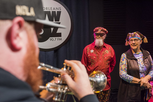 Doyle Cooper, Tommy Boehm, Patty Boehm at WWOZ's 38th birthday - 12.4.18. Photo by Ryan Hodgson-Rigsbee rhrphoto.com