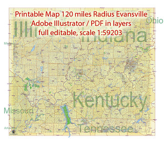 Evansville Printable Map area 120 miles radius, Indiana US, exact vector City Plan Map scale 1:59203 full editable, Adobe Illustrator | by vectormapper