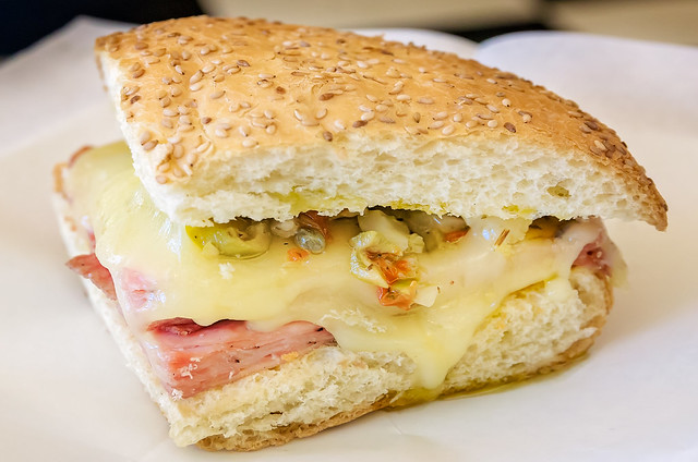 Muffaletta sandwich at Three Georges Candy on Dauphin Street in downtown Mobile Alabama