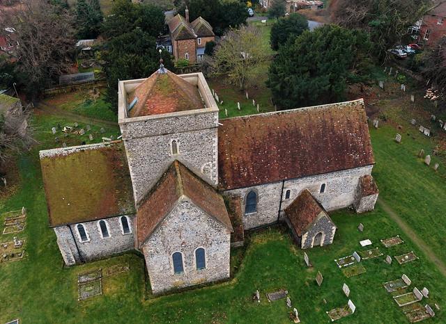 St Augustine's Church, Northbourne (aerial)