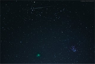 Comet 46P with Pleiades Cluster and Geminid meteor