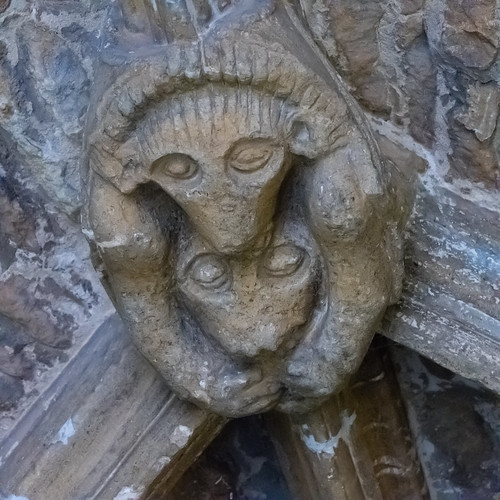 Lamb clasping wolf, Chipping Norton church