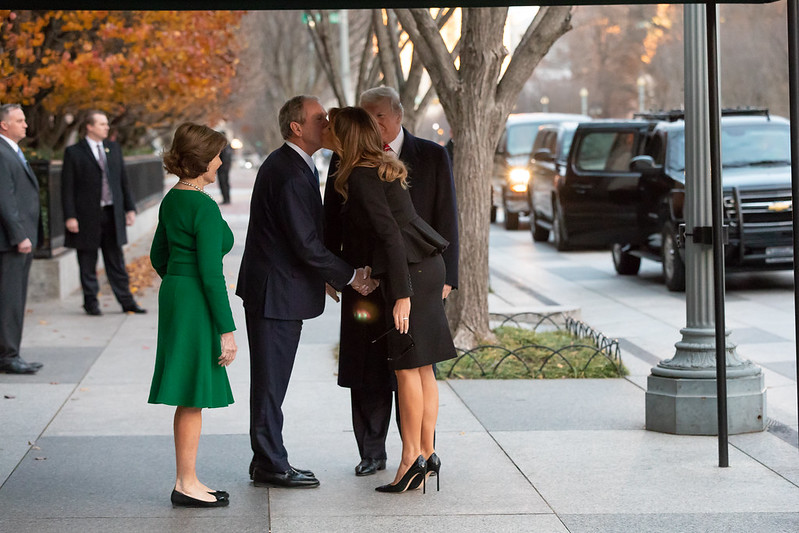 President Donald J. Trump and First Lady Melania Trump with former President George W. Bush and former First Lady Laura Bush