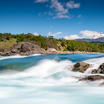 Slow shutter speed photo of the confluence of the Baker and Nef rivers in Patagonia