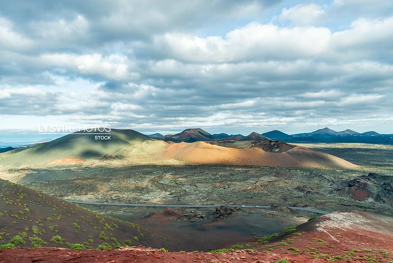 Fantastic view on Volcano landscape Timanfaya National Park, Lanzarote, Canary Island
