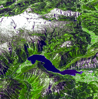 The magnificent natural landscape of Salzkammergut, Austria. Original from NASA . Digitally enhanced by rawpixel.