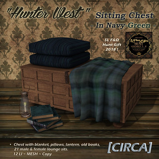 "SLF&O Hunt Item | [CIRCA] - ""Hunter West"" - Sitting Chest - In Navy-Green (SLF&O) 
