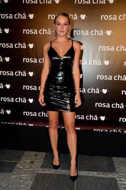 Fiorella Mattheis in vinyl dress