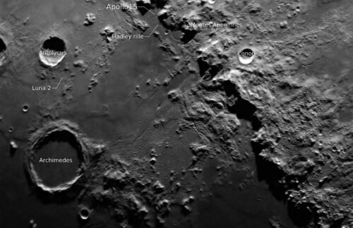 apollo 15 landing site luna 2 archimedes moon