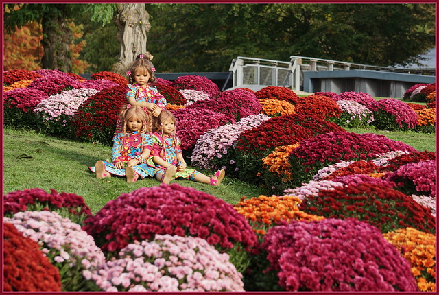 Kindergartenkinder im Blumenparadies ...