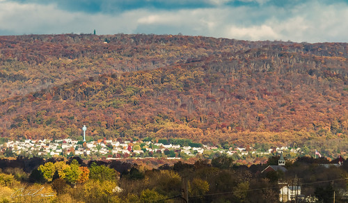 thurmont color church chimneyrock fall clouds haze trees 450mm watertower distance sky flag landscape maryland catoctinmountainpark sunrise woodsboro unitedstates us