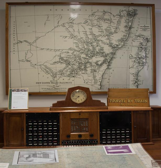 Train Controllers desk at the Werris Creek Rail Journeys Museum, NSW, Australia.