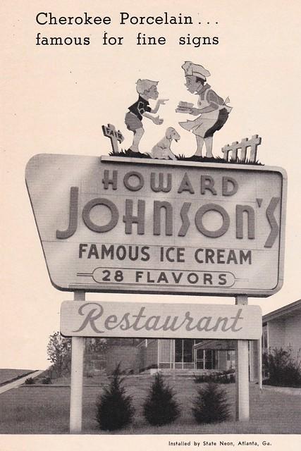 Vintage Cherokee Porcelain Enamel Ad Featuring Howard Johnson's Restaurant Sign in Georgia - 1957