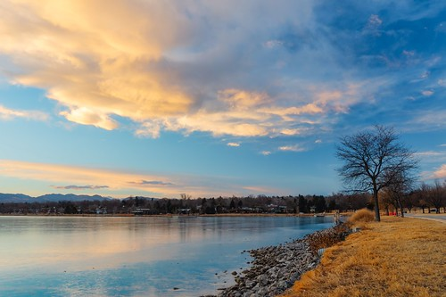 denver colorado unitedstatesofamerica us sunset park lake clouds reflection