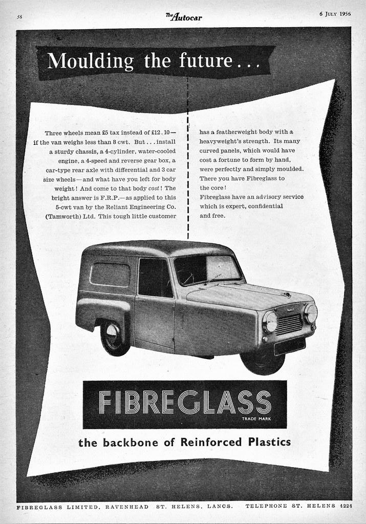 1956 Reliant 5 cwt Van | Fibreglass Ltd  ad (U K ) | Flickr